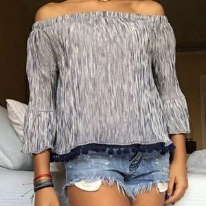 Blue and white off the shoulder